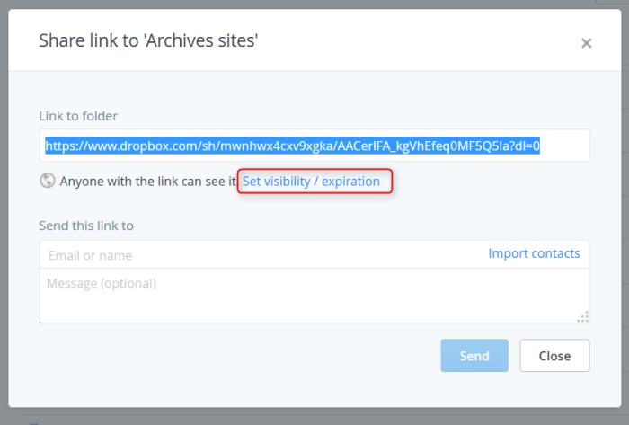 Ouverture d'une fenêtre de dialogue de partage de lien dans Dropbox Pro