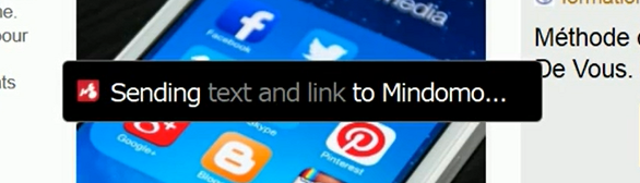 Encadré Mindomo confirmant l'envoi du lien et du texte de la page web vers le logiciel de mindmapping