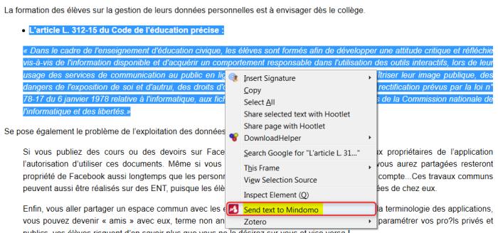 """Commande """"Envoyer du texte vers Mindomo"""" dans le menu contextuel de Windows"""