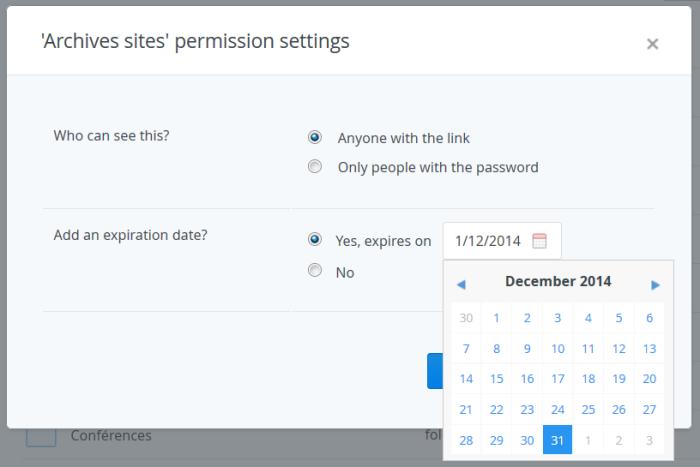 Insertion d'une date d'expiration personnalisée dans Dropbox Pro