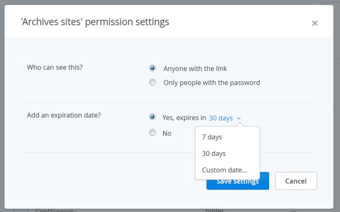 Insertion d'une date d'expiration pour un lien partagé dans Dropbox Pro