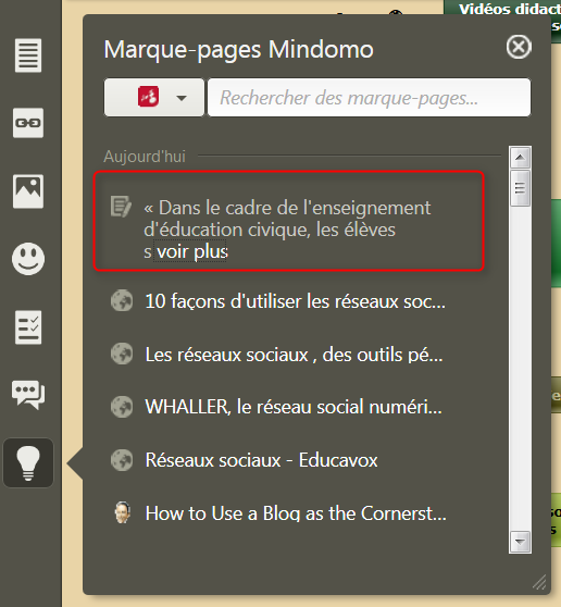 Texte sélectionné envoyé dans le menu Marque-pages du logiciel de mindmapping Mindomo