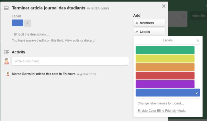 Ajouter une étiquette de couleur à une carte Trello