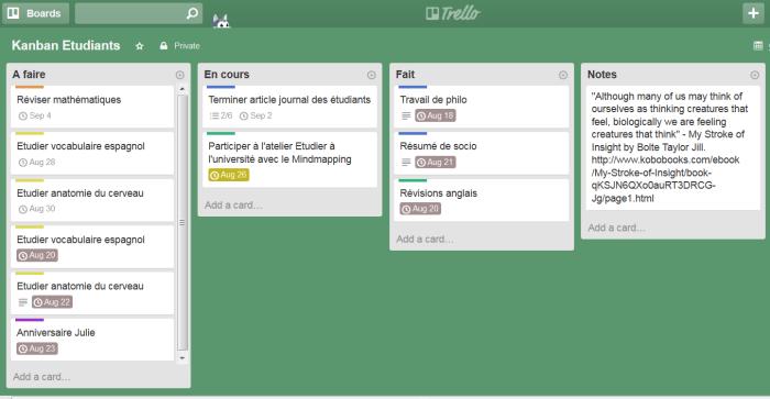 Kanban personnel d'étudiant en 4 colonnes sur le logiciel en ligne Trello
