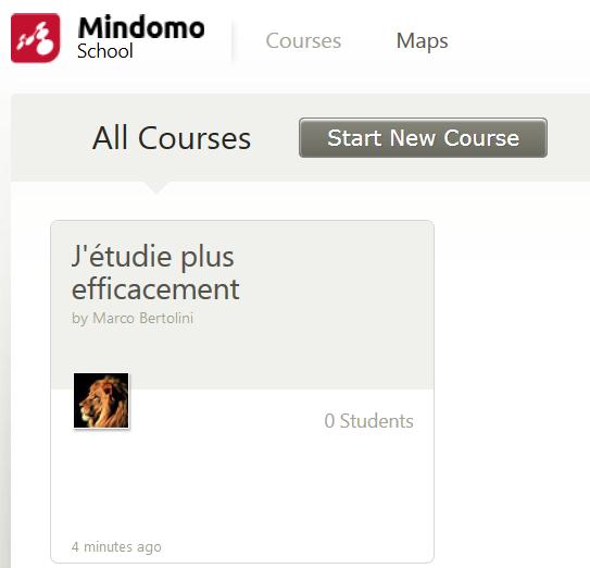 Affichage d'un nouveau cours dans l'interface School de Mindomo