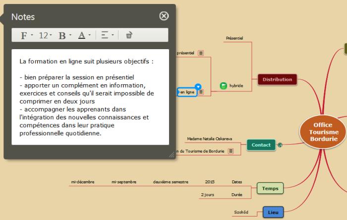Exemple d'une note de texte suivi dans une mindmap Mindomo de structuration de proposition commerciale
