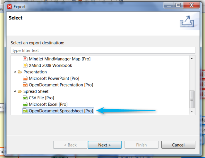 Menu Export OpenOffice Spreadsheet