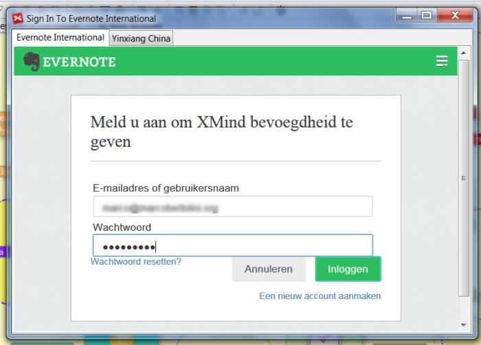 Fenêtre de dialogue pour établir la connexion entre XMind 6 et Evernote