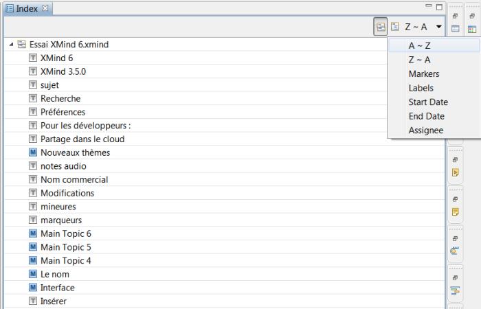 Vue indexée de A à Z de la structure de la mindmap dans XMind 6