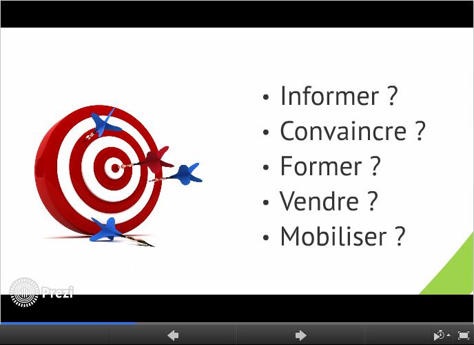 Quels sont les objectifs de votre présentation Prezi ?  Vendre ? Convaincre ? Informer ? Mobiliser ? Former ?