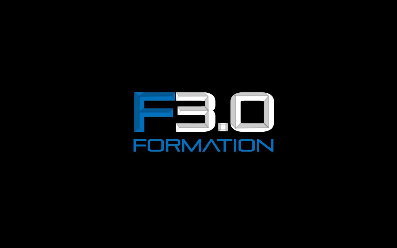Nouveau logo sur fond noir de Formation 3.0