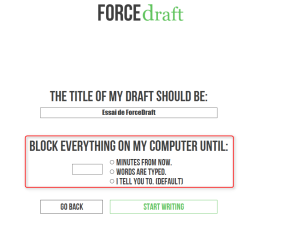 Menu de sélection de votre objectif dans l'appli forcedraft pour lutter contre la procrastination