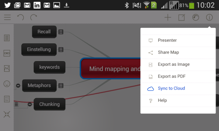Menu synchronisation de l'application mobile Mindomo pour le mindmapping