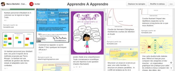Exemple de tableau Pinterest utilisé dans la formation enseigner avec les réseaux sociaux