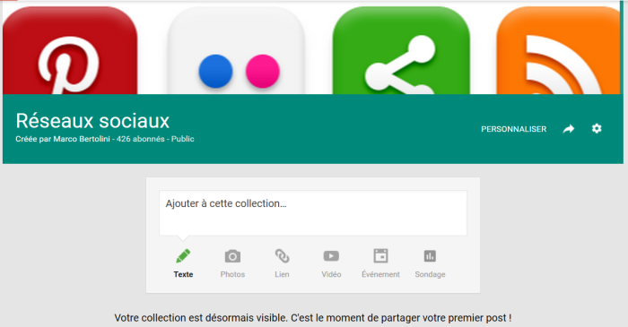 Publiez votre premier article ou billet sur Collections, l'application de curation de Google plus