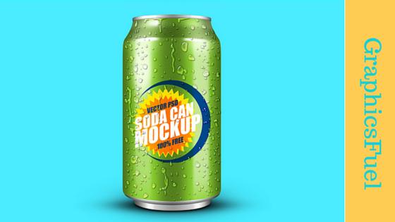 Un mockup de GraphicsFuel : une canette de soda avec le nom et le logo de votre entreprise