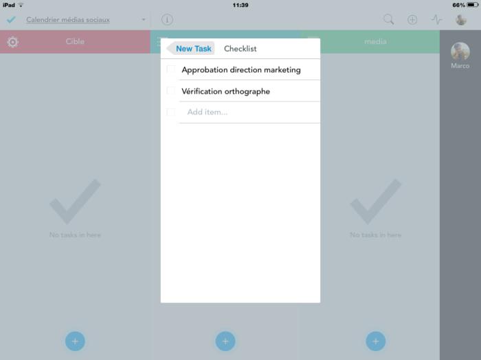Meistertask : ajout d'une checklist à une carte de tâche
