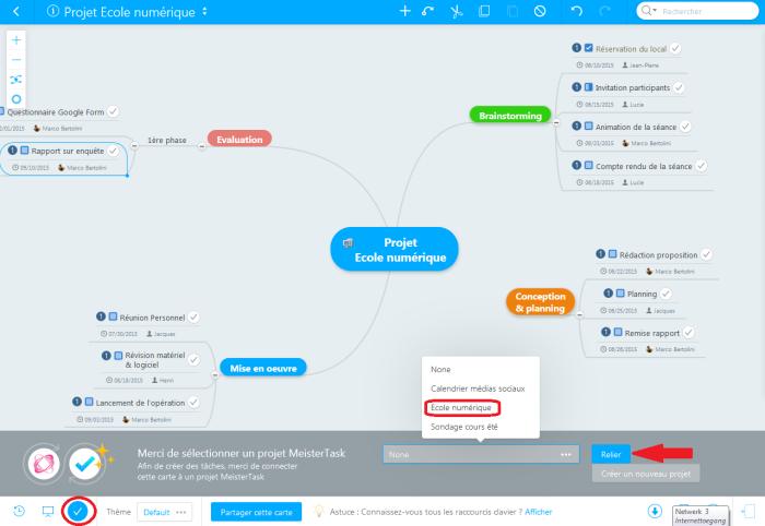 Liaison entre la carte Mindmeister et l'application de gestion de projet Meistertask à l'aide du bouton avec l'icone Check
