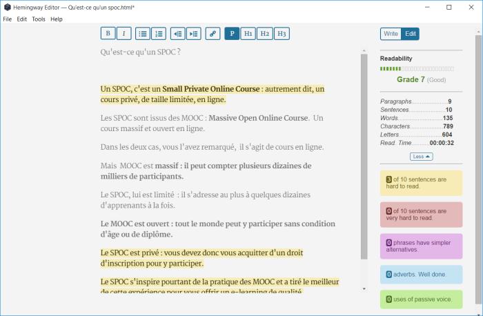 Analyse pour rire de la lisibilité d'un texte en français avec Hemingway pour Windows