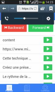 La playlist de SlideDog peut auss s'afficher sur votre smartphone