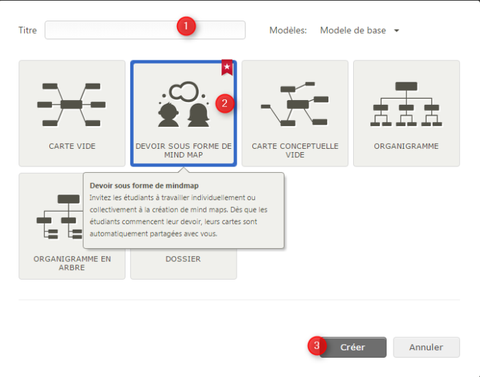 Illustration de la façon de créer un nouveau cours dans Mindomo School