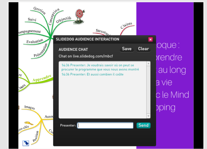 Possibiliter de chatter sur SlideDog et de recueillir les questions du public automatiquement