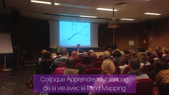 Conférence de Lucas Gruez sur les usages de lapensée visuelle en classe lors du colloque Apprendre tout au long de la vie avec le Mind Mapping