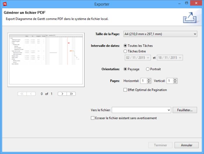 Fenêtre de dialogue pour préciser les caractéristiques de l'export en pdf