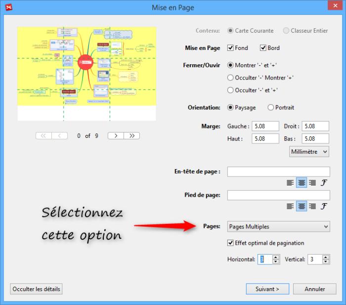 Fonction d'impression d'une mindmap sur plusieurs pages dans XMind 7