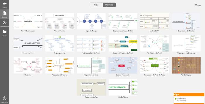 Page des modèles de XMind 7 : des couleurs et des formes au design épuré