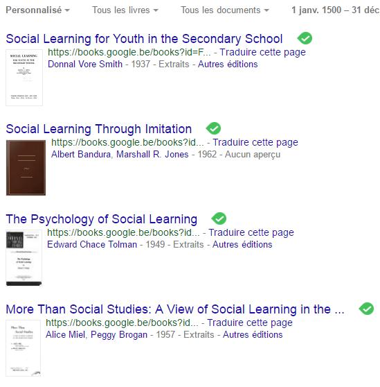 """résultats de recherche dans google books ngram viewer sur le mot-clé """"social learning"""""""