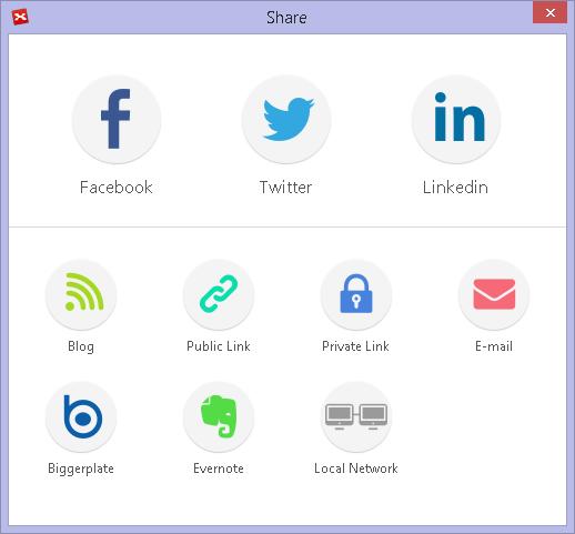 Nouvelle fenêtre de partage vers les réseaux sociaux, les blogs, le site XMind.net, votre boîte email, Biggerplate, Evernote et votre réseau local