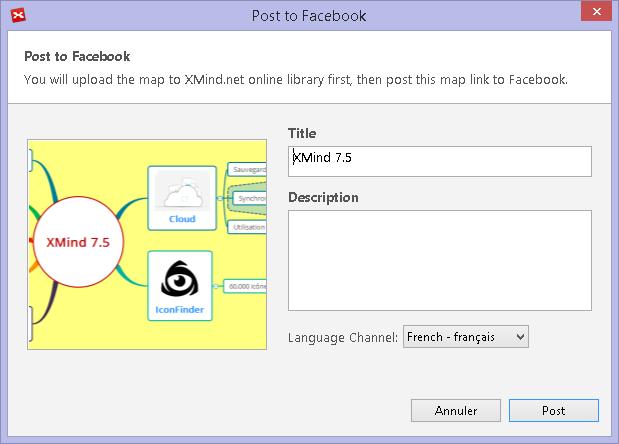 Vous pouvez à présent exporter directement vos mindmaps XMind vers votre réseau social préféré : facebook