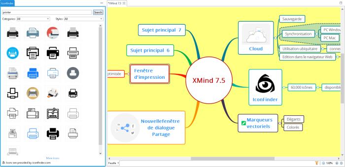 Recherche d'images sur le Net avec IconFinder proposée par la nouvelle version Beta de XMind