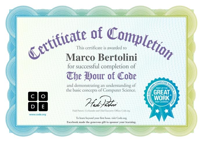 Certificat de réussite de l'heure de code : activités pour comprendre les bases de l'informatique et d'Internet