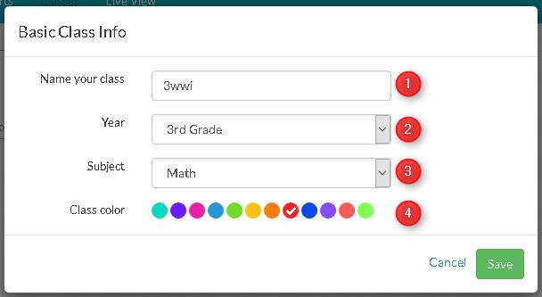 Pour configurer votre classe dans Plickers, utilisez la fenêtre de dialogue et ajoutez le nom, le niveau et la matière