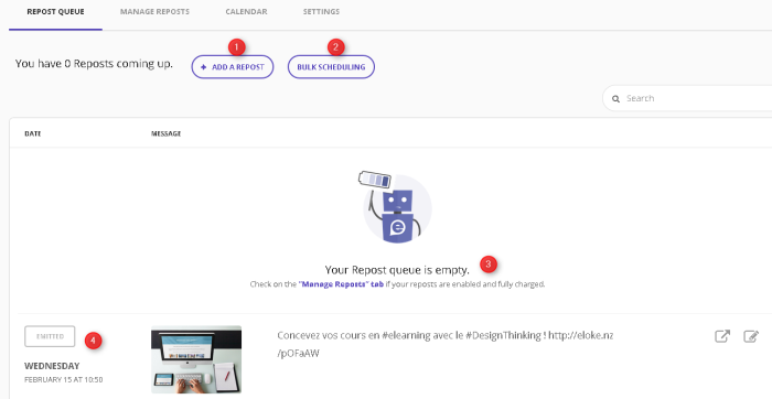 Repost queue ou liste des republications d'Elokenz - menu d'ajout de messages ou d'articles à republier sur les réseaux sociaux
