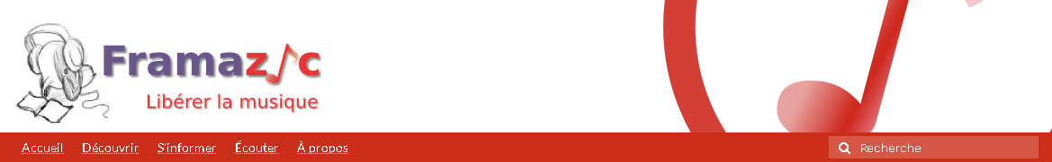 Framazic : département musique libre de droit de Framasoft, plateforme spécialisée dans le logiciel libre
