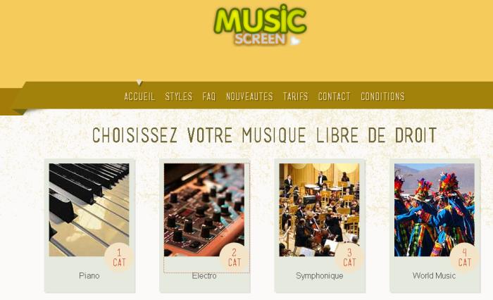 Music Screen, site belge de distribution de musiques libres de droit