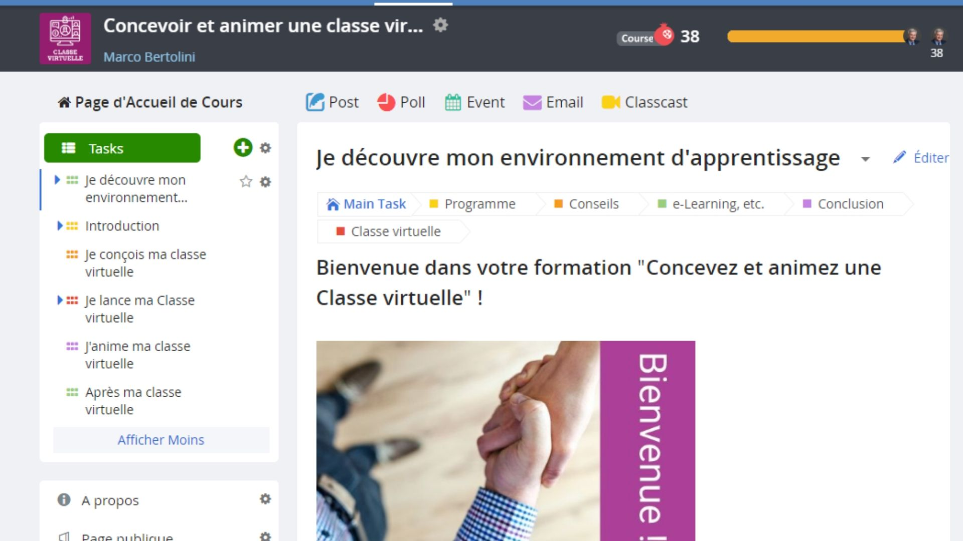 Formation à la classe virtuelle : environnement d'apprentissage The Course Networking